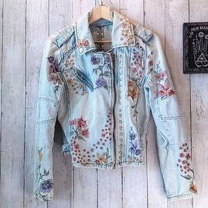 Blank NYC Floral Embroided Jean Jacket